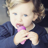 toddler with haakaa silicone fresh food teether